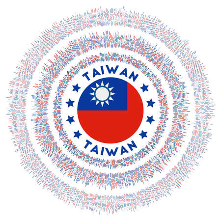 Taiwan symbol. Radiant country flag with colorful rays. Shiny sunburst with Taiwan flag. Radiant vector illustration. Ilustração
