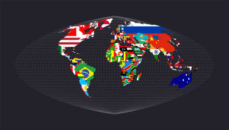 Map of the world with flags. Boggs eumorphic projection. Map of the world with meridians on dark background. Vector illustration.