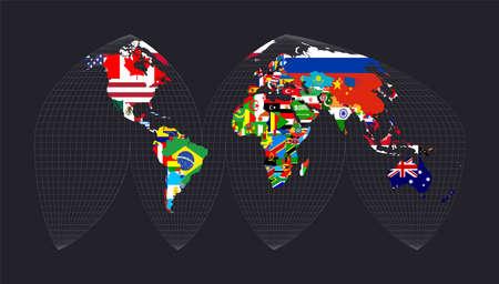 Carte du monde avec des drapeaux. La projection eumorphique interrompue de Bogg. Carte du monde avec méridiens sur fond sombre. Illustration vectorielle.