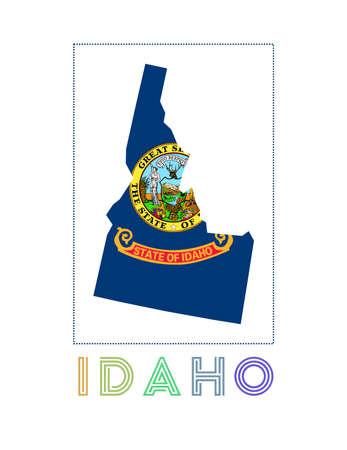 Idaho Logo. Map of Idaho with us state name and flag. Charming vector illustration.