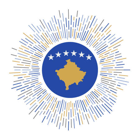 Kosovo sign. Country flag with colorful rays. Radiant sunburst with Kosovo flag. Vector illustration. Stock Illustratie