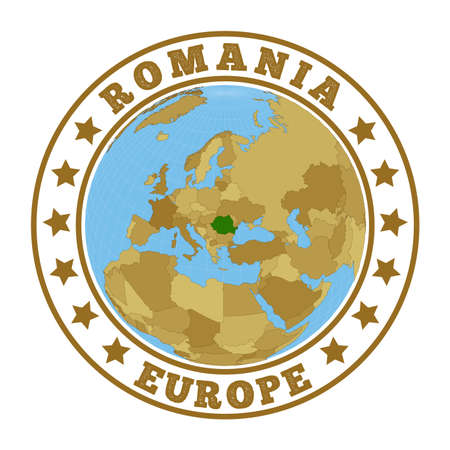 Romania logo. Round badge of country with map of Romania in world context. Country sticker stamp with globe map and round text. Vector illustration.
