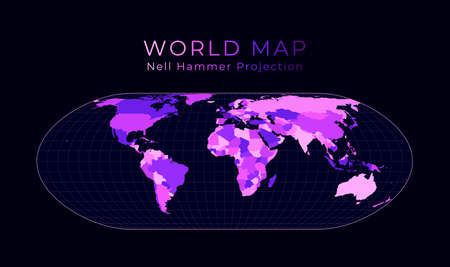 World Map. Nell-Hammer projection. Digital world illustration. Bright pink neon colors on dark background. Cool vector illustration. Stock Illustratie