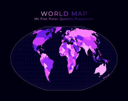 World Map. McBryde-Thomas flat-polar quartic pseudocylindrical equal-area projection. Digital world illustration. Bright pink neon colors on dark background. Beautiful vector illustration.