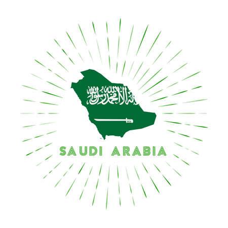 Saudi Arabia sunburst badge. The country sign with map of Saudi Arabia with Saudi Arabian flag. Colorful rays around the logo. Vector illustration. Иллюстрация