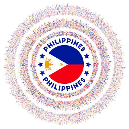 Symbole des Philippines. Drapeau de pays rayonnant avec des rayons colorés. Sunburst brillant avec le drapeau des Philippines. Illustration vectorielle créative.
