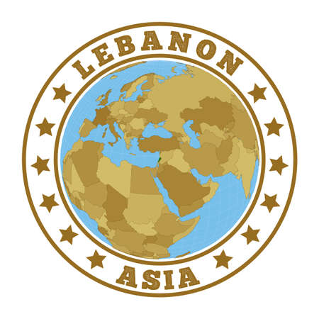 Lebanon logo. Round badge of country with map of Lebanon in world context. Country sticker stamp with globe map and round text. Vector illustration. Illustration