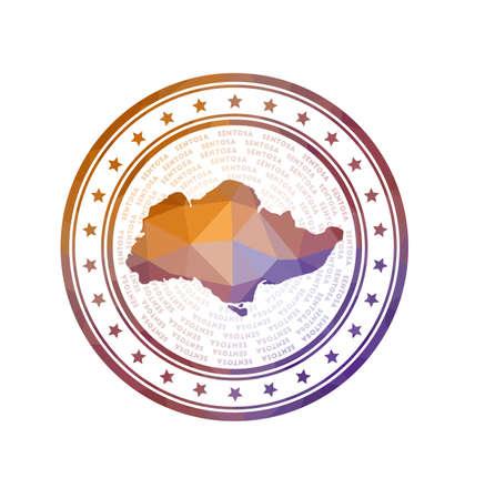 Flat low poly stamp of Sentosa. Polygonal Sentosa badge. Trendy vector logo of the island.
