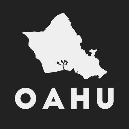 Oahu icon. Island map on dark background. Stylish Oahu map with island name. Vector illustration. 矢量图像