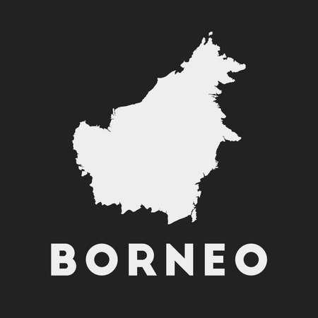 Borneo icon. Island map on dark background. Stylish Borneo map with island name. Vector illustration.  イラスト・ベクター素材