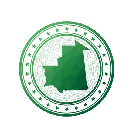 Flat low poly stamp of Mauritania. Polygonal Mauritania badge. Trendy vector logo of the country.