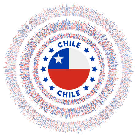 Chile symbol. Radiant country flag with colorful rays. Shiny sunburst with Chile flag. Radiant vector illustration. 일러스트