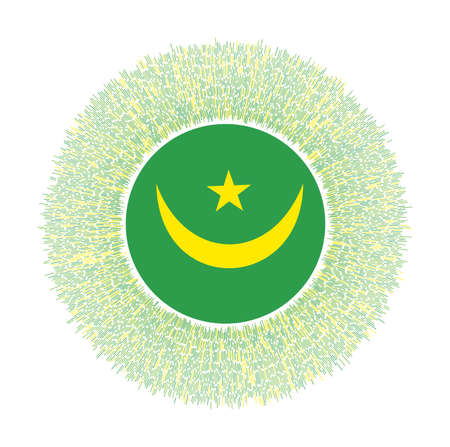 Flag of Mauritania with colorful rays. Radiant country sign. Shiny sunburst with Mauritania flag. Radiant vector illustration. 일러스트