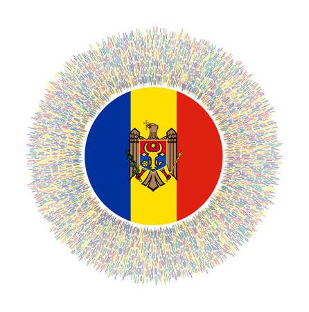 Flag of Moldova with colorful rays. Radiant country sign. Shiny sunburst with Moldova flag. Attractive vector illustration. Vektorové ilustrace