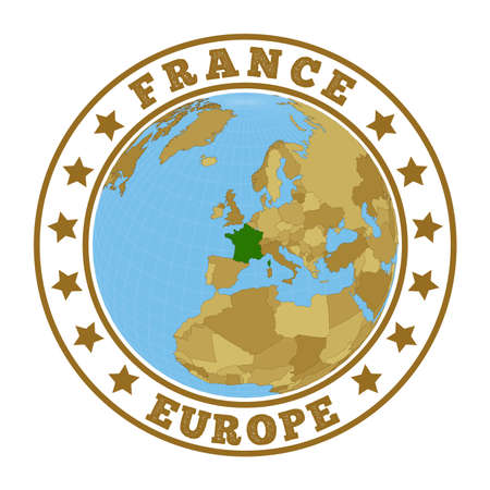 France logo. Round badge of country with map of France in world context. Country sticker stamp with globe map and round text. Vector illustration.