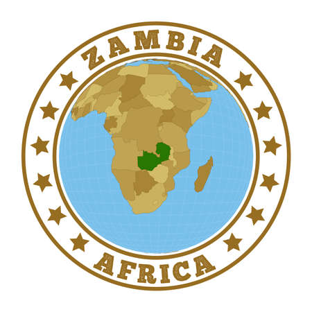 Zambia logo. Round badge of country with map of Zambia in world context. Country sticker stamp with globe map and round text. Vector illustration.