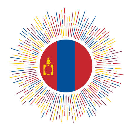 Mongolia sign. Country flag with colorful rays. Radiant sunburst with Mongolia flag. Vector illustration.