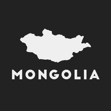 Mongolia icon. Country map on dark background. Stylish Mongolia map with country name. Vector illustration. Иллюстрация