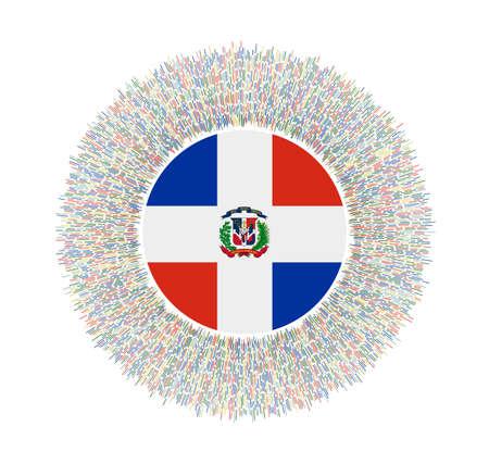 Flagge von Dominicana mit bunten Strahlen. Strahlendes Landeszeichen. Glänzender Sunburst mit Dominicana-Flagge. Strahlende Vektorillustration.
