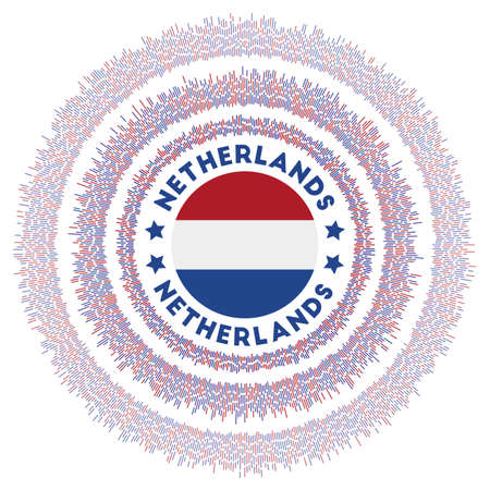 Netherlands symbol. Radiant country flag with colorful rays. Shiny sunburst with Netherlands flag. Astonishing vector illustration. Ilustração