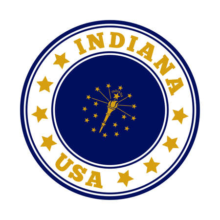 Indiana sign. Round us state logo with flag of Indiana. Vector illustration.