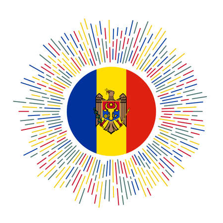 Moldova sign. Country flag with colorful rays. Radiant sunburst with Moldova flag. Vector illustration.