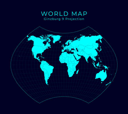 Map of The World. Ginzburg IX projection. Futuristic Infographic world illustration. Bright cyan colors on dark background. Stylish vector illustration. Stock Illustratie