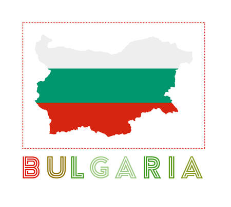 Bulgaria Logo. Map of Bulgaria with country name and flag. Powerful vector illustration. 向量圖像