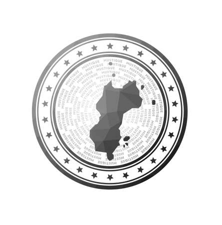 Flat low poly stamp of Mustique. Polygonal Mustique badge. Trendy vector logo of the island.