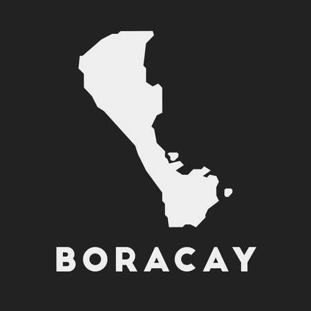 Boracay icon. Island map on dark background. Stylish Boracay map with island name. Vector illustration.