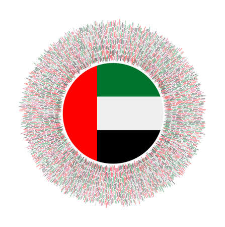 Flag of UAE with colorful rays. Radiant country sign. Shiny sunburst with UAE flag. Beautiful vector illustration.