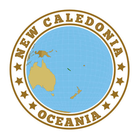 New Caledonia logo. Round badge of country with map of New Caledonia in world context. Country sticker stamp with globe map and round text. Vector illustration. Vectores