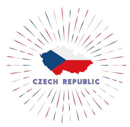 Czech Republic sunburst badge. The country sign with map of Czech Republic with Czech flag. Colorful rays around the logo. Vector illustration.