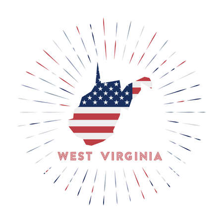West Virginia sunburst badge. The us state sign with map of West Virginia with American flag. Colorful rays around the logo. Vector illustration.