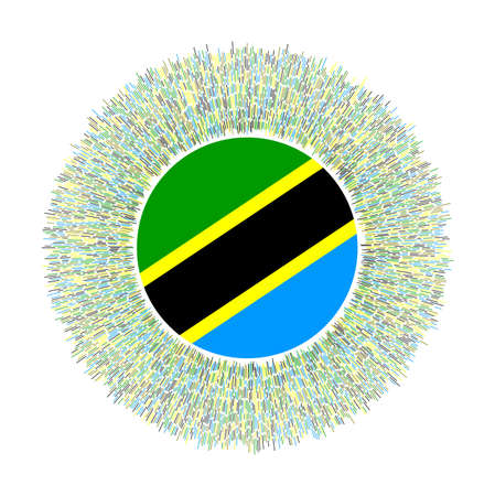 Flag of Tanzania with colorful rays. Radiant country sign. Shiny sunburst with Tanzania flag. Appealing vector illustration.
