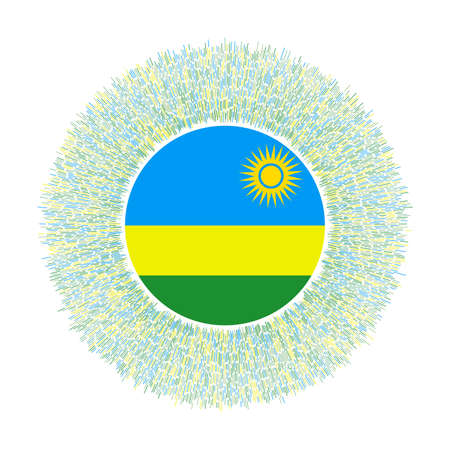 Flag of Rwanda with colorful rays. Radiant country sign. Shiny sunburst with Rwanda flag. Awesome vector illustration.