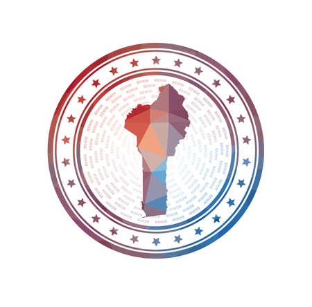 Flat low poly stamp of Benin. Polygonal Benin badge. Trendy vector logo of the country.  イラスト・ベクター素材