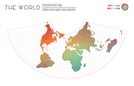 Low poly design of the world. Albers conic equal-area projection of the world. Spectral colored polygons. Stylish vector illustration.
