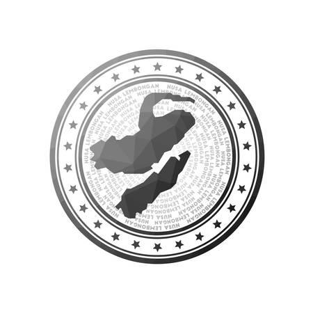 Flat low poly stamp of Nusa Lembongan. Polygonal Nusa Lembongan badge. Trendy vector logo of the island.