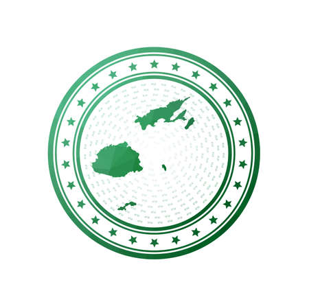 Flat low poly stamp of Fiji. Polygonal Fiji badge. Trendy vector logo of the country.