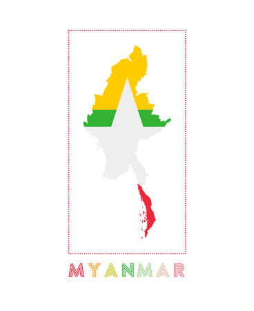 Myanmar Logo. Map of Myanmar with country name and flag. Neat vector illustration.