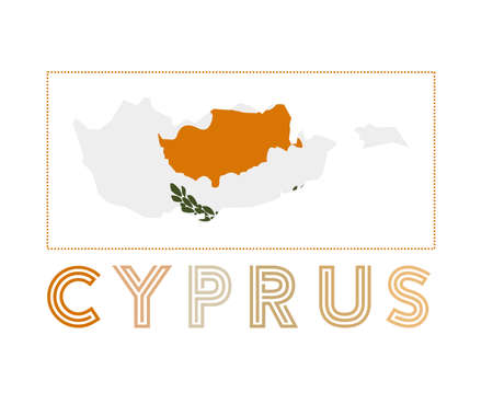 Cyprus Logo. Map of Cyprus with country name and flag. Powerful vector illustration. Illusztráció