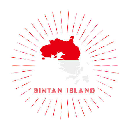 Bintan Island sunburst badge. The island sign with map of Bintan Island with Indonesian flag. Colorful rays around the logo. Vector illustration.
