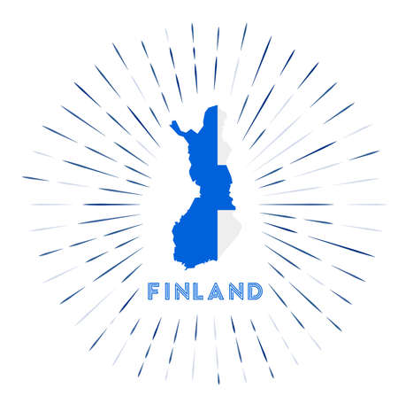 Finland sunburst badge. The country sign with map of Finland with Finnish flag. Colorful rays around the logo. Vector illustration. Illusztráció