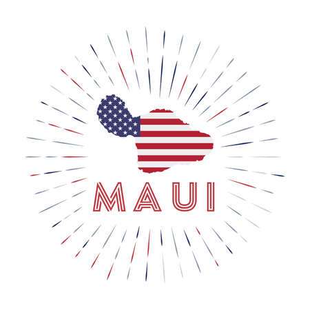 Maui sunburst badge. The island sign with map of Maui with American flag. Colorful rays around the logo. Vector illustration.