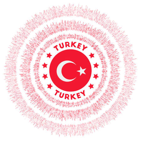 Turkey symbol. Radiant country flag with colorful rays. Shiny sunburst with Turkey flag. Neat vector illustration.