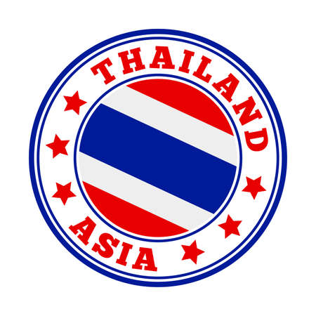 Thailand sign. Round country logo with flag of Thailand. Vector illustration.