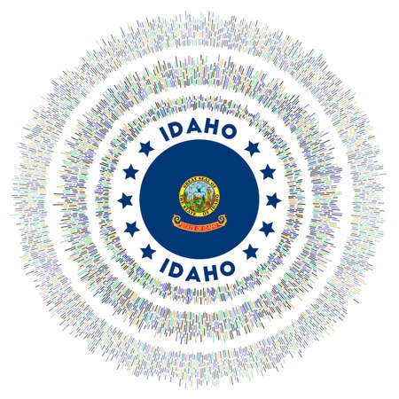 Idaho symbol. Radiant us state flag with colorful rays. Shiny sunburst with Idaho flag. Astonishing vector illustration. Ilustrace