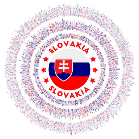 Slovakia symbol. Radiant country flag with colorful rays. Shiny sunburst with Slovakia flag. Superb vector illustration.