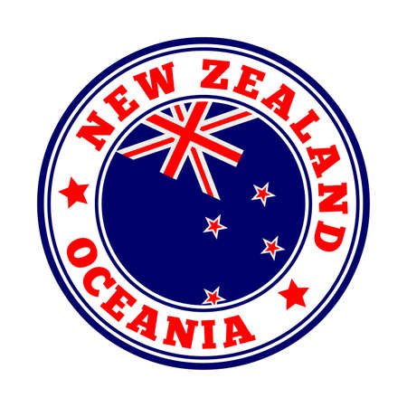 New Zealand sign. Round country logo with flag of New Zealand. Vector illustration.